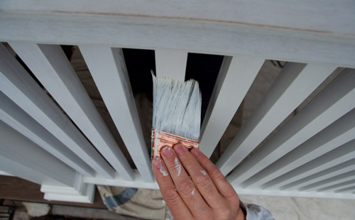 Painting your finished railings on the porch