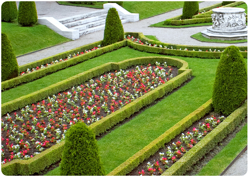 Garden beds in line to create a border