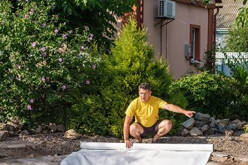 Installing landscape fabric for sa garden bed